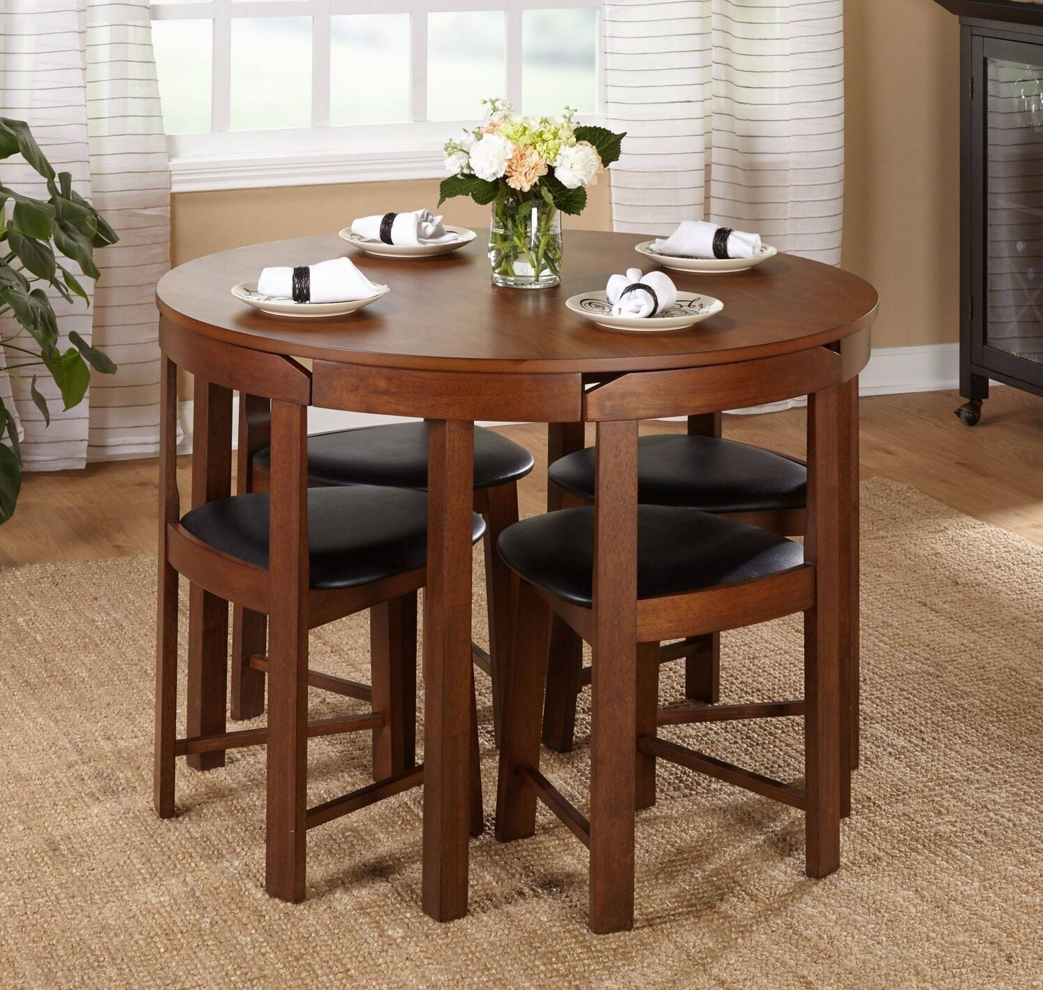 Modern 5pc dining table set kitchen dinette chairs for Kitchen dinette sets
