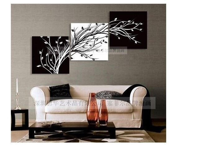 Modern Abstract Huge Wall Art Oil Painting On Canvas:black white TREE( No Frames)