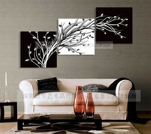 Modern Abstract Huge Wall Art Oil Painting On Canvas Black