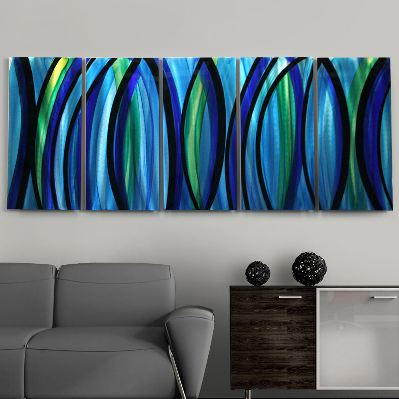 """Modern Abstract Painting Blue Silver Metal Wall Art Decor """"Psychedelic Rush"""""""