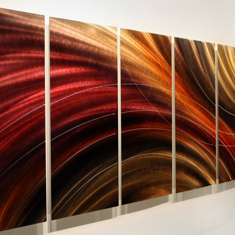 Gold Tone Wall Decor : Modern abstract red gold jewel toned metal wall art