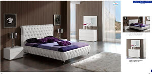 Modern Adriana European 5 piece WHITE Leatherette Bedroom Set Contemporary