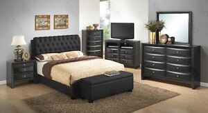Modern Black Dovetailed Bedroom Set with 6 Pieces Twin Size ! Tufted Leather !