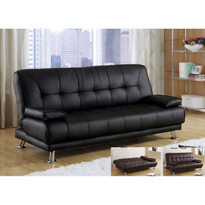Modern Comfort Soft Black Bycast Leather Arm Futon Sofa