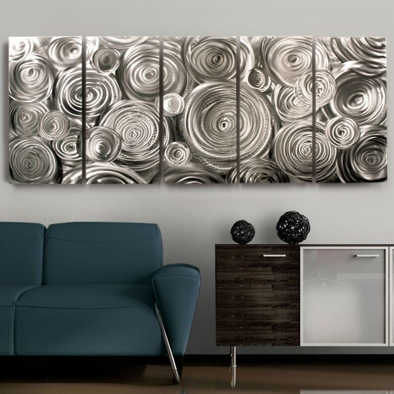 Contemporary Silver Wall Decor : Modern silver abstract fine metal wall art decor symphonic