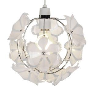 modern silver chrome white flowers ceiling pendant light