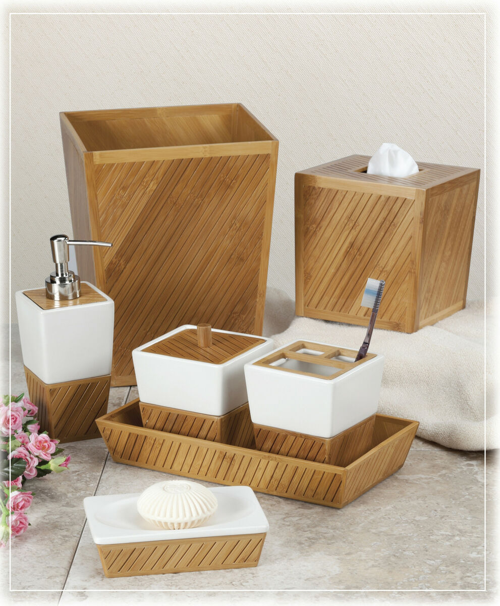 Design spa bamboo ceramic bath bathroom accessories choice for Bamboo in the bathroom