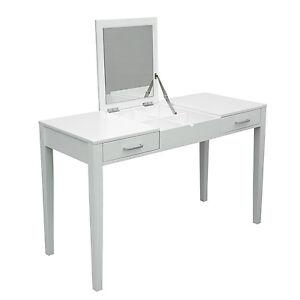 Table on Modern White Dressing Vanity Table Make Up Writing Desk W  Flip Mirror