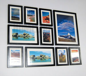 Modern wood 10 photo picture wall frame collage set ebay for Modern collage frame