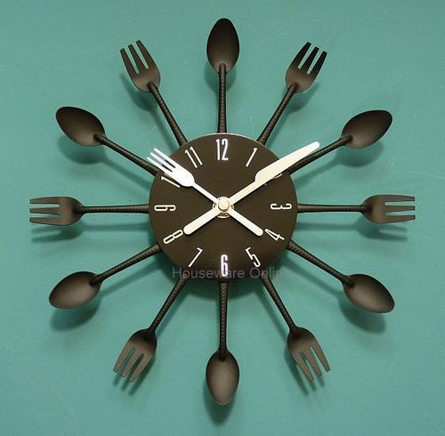 Uniquebella Metal Kitchen Cutlery Utensil Wall Clock Spoon: Modern Black Cutlery Kitchen Retro Wall Clock Fork & Spoon