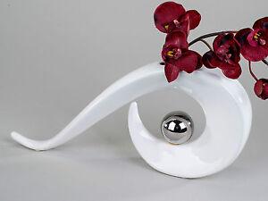 Moderne-Deko-Vase-Blumenvase-aus-Keramik-weiss-silber-36x17-cm