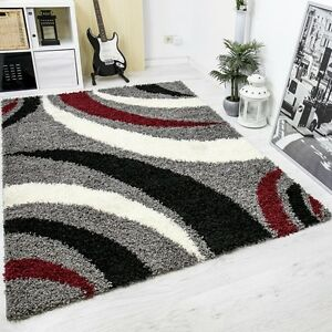 moderner hochflor shaggy designer teppich carpet grau schwarz rot blitzversand ebay. Black Bedroom Furniture Sets. Home Design Ideas