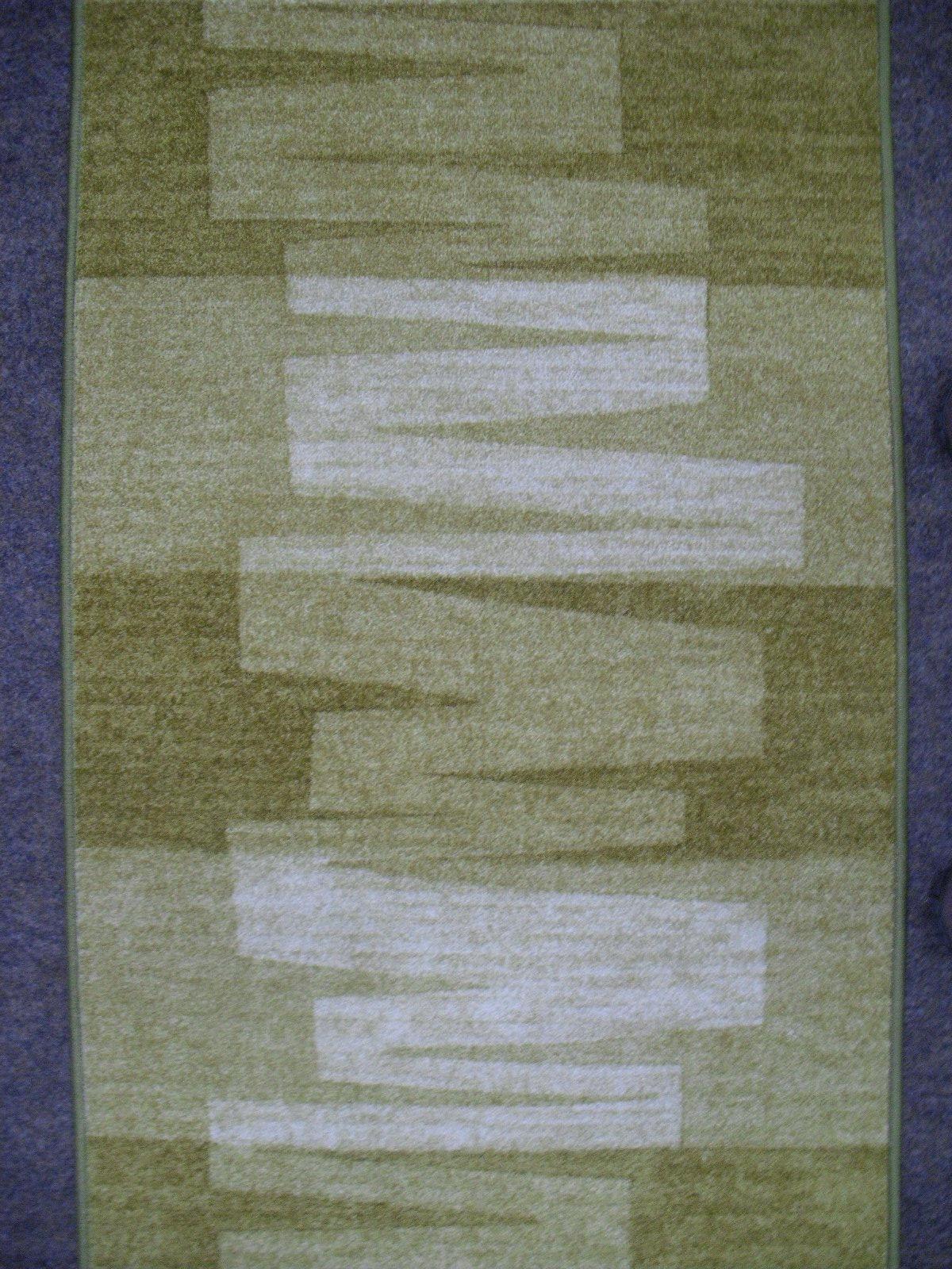 Moderner Velour Teppich Läufer *VISION 21 grün* 67 cm breit NEU rutschfest