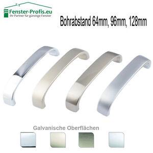 Moebelgriff-Bohrabstand-64mm-96mm-128mm-Chrom-Edelstahl-Satin
