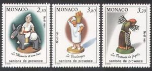Monaco-1990-Christmas-Crib-Figures-Figurines-Donkey-Baker-Animals-3v-set-n39101