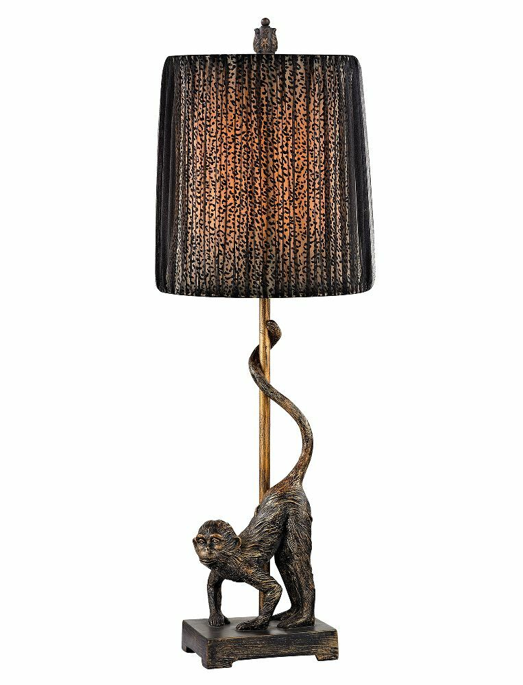 Monkey table lamp leopard black organza shade safari for Floor lamp with leopard shade
