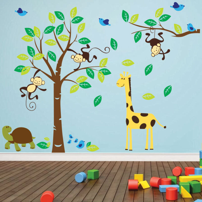 Jungle Wall Decor Stickers : Jungle wall decals grasscloth wallpaper