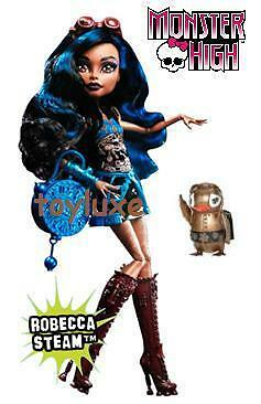 Monster High Robecca Steam Daughter on Mad Scientist & Pet Penguin Captain Penny