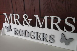 Mr mrs top table wedding wooden decoration sign for Personalised mr and mrs letters