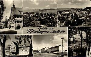 Muensingen-Schaebische-Alb-Mehrbildkarte-1960-diverse-Stadtpartien-Gesamtansicht