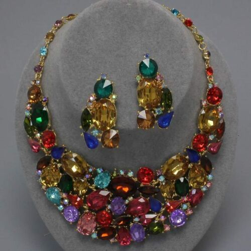 Multi Color Crystal Bridal Wedding Chunky Bib Statement Necklace and Earring Set in Jewelry & Watches, Fashion Jewelry, Necklaces & Pendants | eBay