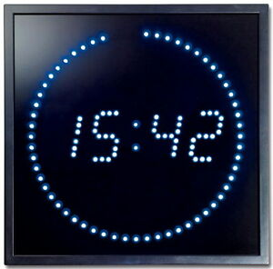 multi led wand uhr digitale gro e anzeige digital 143 blau led s digitaluhr neu ebay. Black Bedroom Furniture Sets. Home Design Ideas