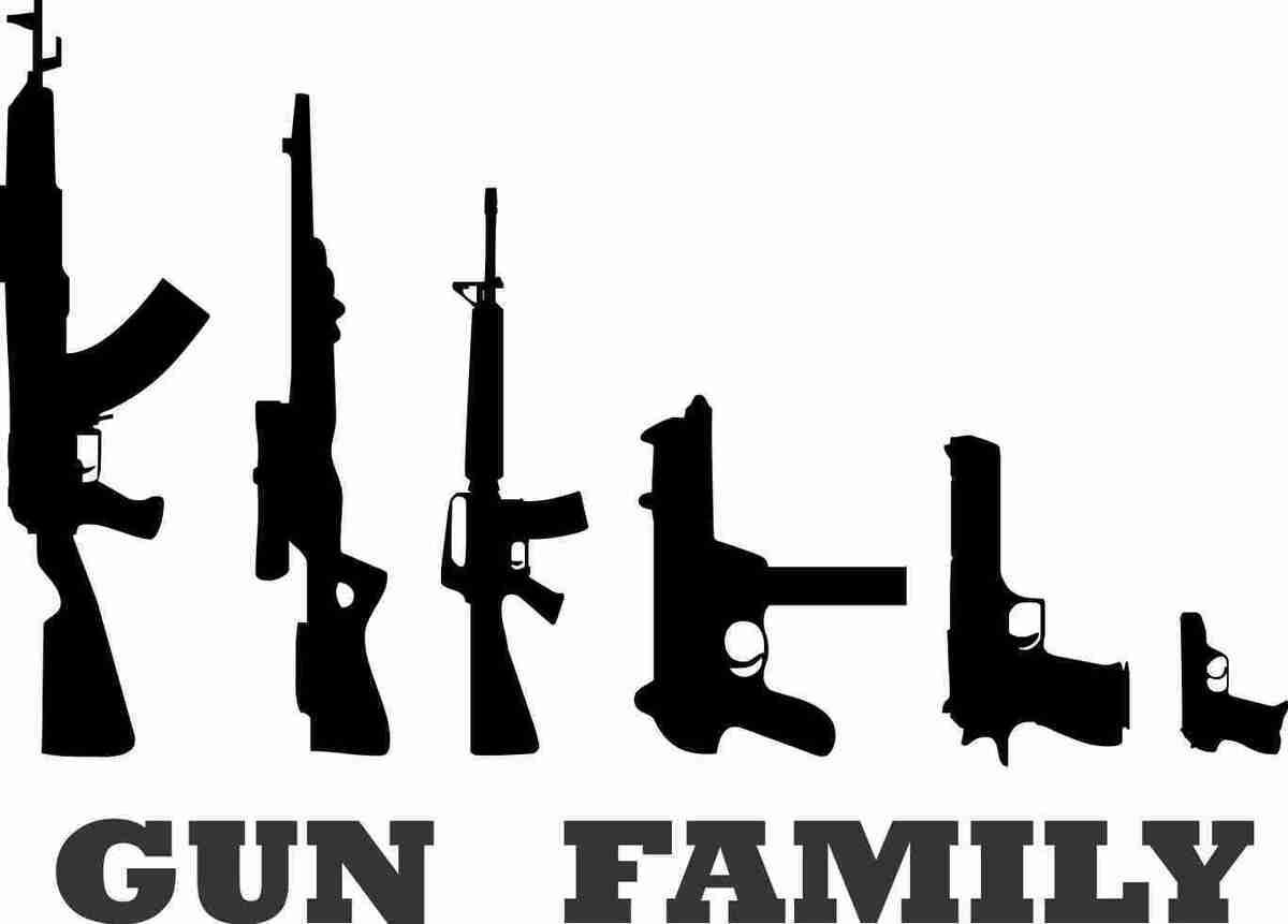 My Gun Family Funny Car Window White Vinyl Decal Sticker