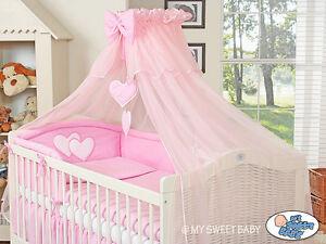 My-Sweet-Baby-Bettset-Herzchen-3in1-Himmel-Moskitonetz-6-Tlg-Bettwaesche-Herz-Neu