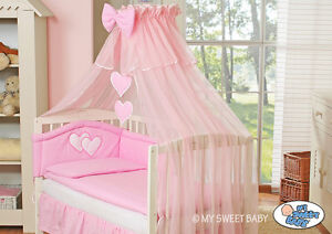 my sweet baby kinderbett babybett himmel bettset herzchen 120x60 bett wei holz ebay. Black Bedroom Furniture Sets. Home Design Ideas