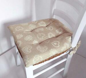 N 6 cuscini copri sedia coprisedia per cucina cuori panna - Cuscini per sedie cucina ...