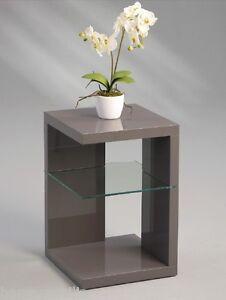 Nachttisch beistelltisch hochglanz anthrazit grau for Beistelltisch grau hochglanz