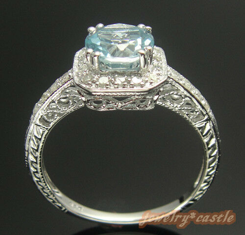 NATURAL BLUE TOPAZ NATURAL DIAMOND RING SILVER VINTAGE FILIGREE ANTIQUE RING in Jewelry & Watches, Engagement & Wedding, Engagement Rings | eBay