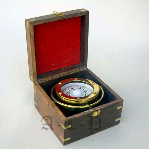 NAUTICAL BRASS GIMBAL SHIP BOXED COMPASS COLLECTIBLE SHIP COMPASS MARINE GIFT in Antiques, Maritime, Compasses | eBay
