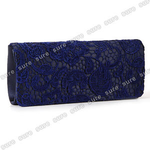 ... about NAVY BLUE SATIN LACE FLORAL PROM WEDDING EVENING CLUTCH HANDBAG