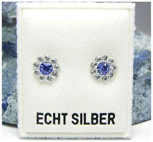 NEU-925-Silber-OHRSTECKER-Blume-OHRRINGE-mit-SWAROVSKI-STEINE-Saphir-Blau-klar