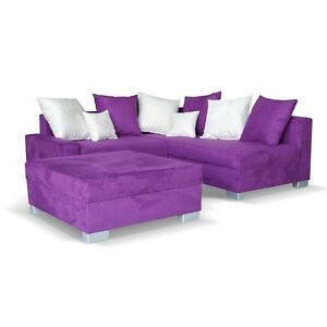 neu ecksofa mit hocker stoff lila wei recamiere rechts eckcouch sofa schlafsofa ebay. Black Bedroom Furniture Sets. Home Design Ideas