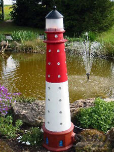 Neu leuchtturm b sum nordsee 105 cm rot wei mit for Leuchtturm deko garten