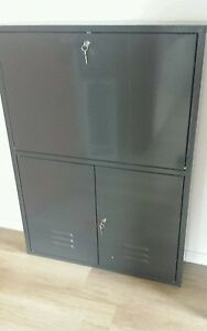 neu abschlie bar wandschrank sekret r aus metall. Black Bedroom Furniture Sets. Home Design Ideas