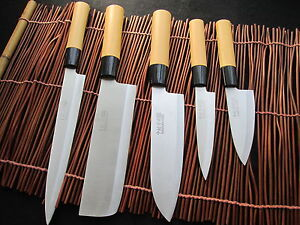 neu japanische k chenmesser kochmesser 5 pics set sushi japan knife knives ebay. Black Bedroom Furniture Sets. Home Design Ideas