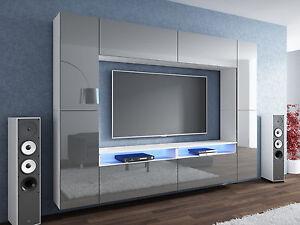 neuheit wohnwand grau hochglanz wei mediawand led. Black Bedroom Furniture Sets. Home Design Ideas