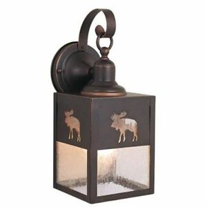 new 1 light rustic moose outdoor wall lamp lighting fixture clear seeded glass ebay. Black Bedroom Furniture Sets. Home Design Ideas