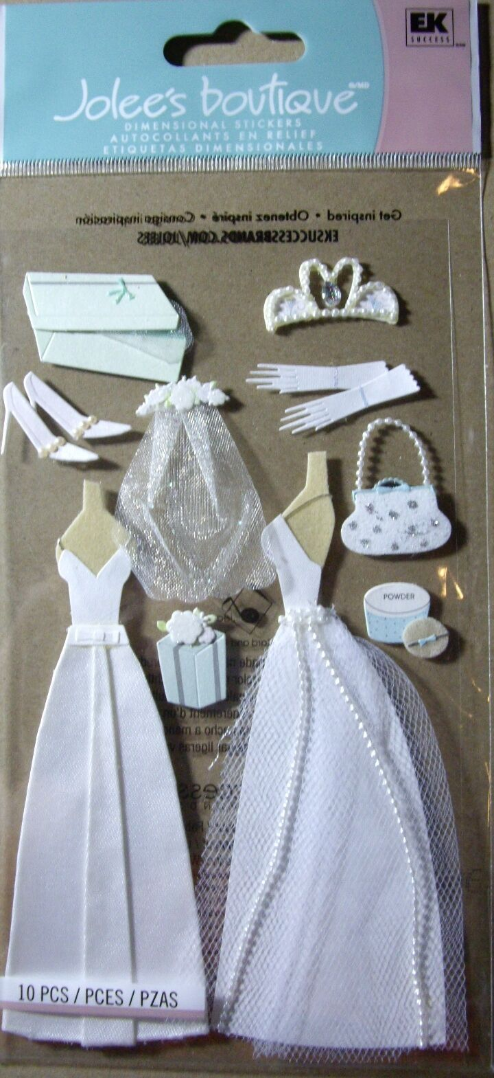 NEW 10 Pc WEDDING GOWN Tiara Veil Shoe Gown Gloves Bridal JOLEES 3DStickers