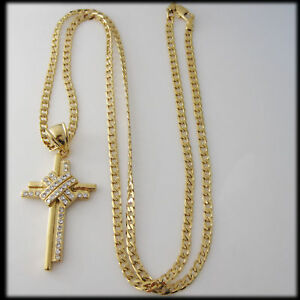 "NEW 18K YELLOW GOLD GP OVERLAY COATED 24"" CUBAN NECKLACE&JESUS CROSS PENDANT CZ in Jewelry & Watches, Other 