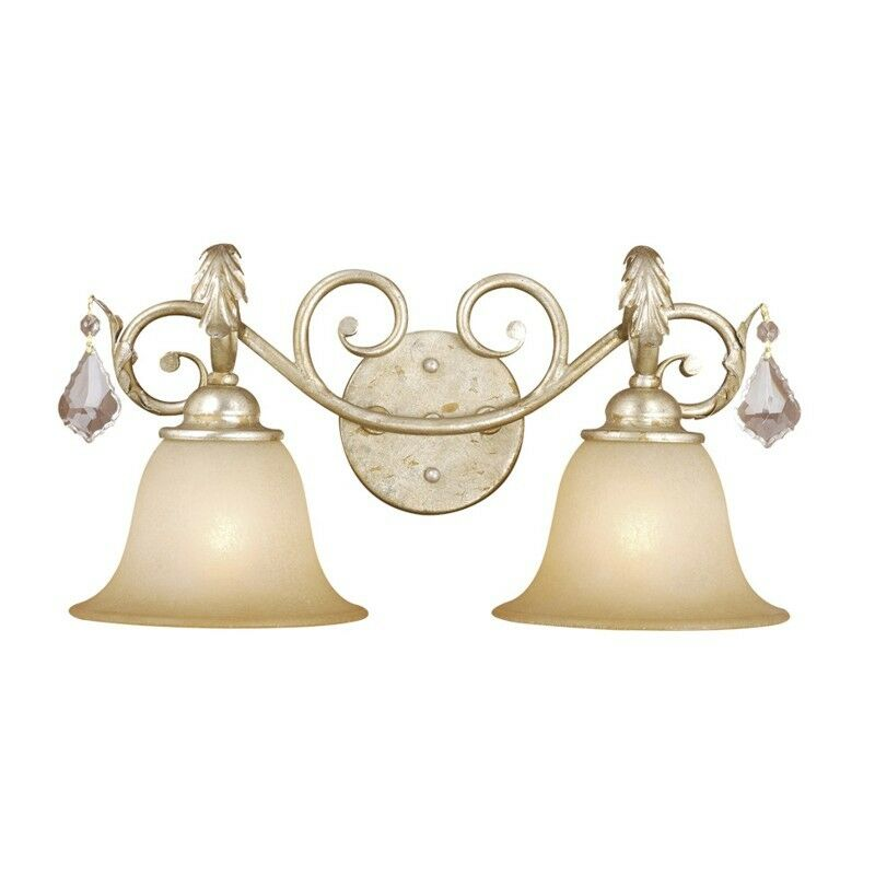 New 2 Light Crystal Bathroom Vanity Lighting Fixture White Amber