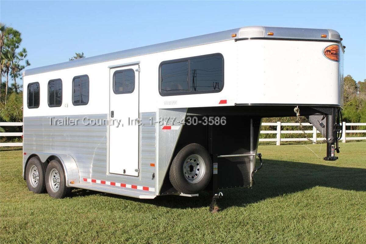 New 2013 Sundowner Rancher Sport 3 Horse Slant Load Aluminum Gooseneck Trailer