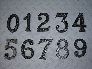 New 3quot inch metal black wrought iron numbers house door for Black metal house letters