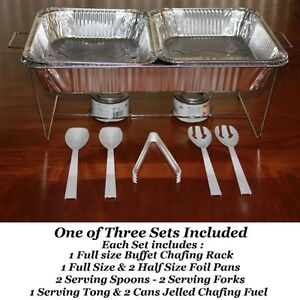 NEW-33-piece-Buffet-Chafer-Chafing-Serving-Kit-Food-Warmers-3-Complete-Sets