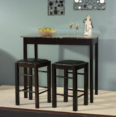 3pc espresso wooden counter height kitchen table island