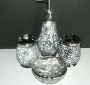 New 4 pcs silver mosaic luxury bathroom accessory set bath for Silver mosaic bathroom accessories
