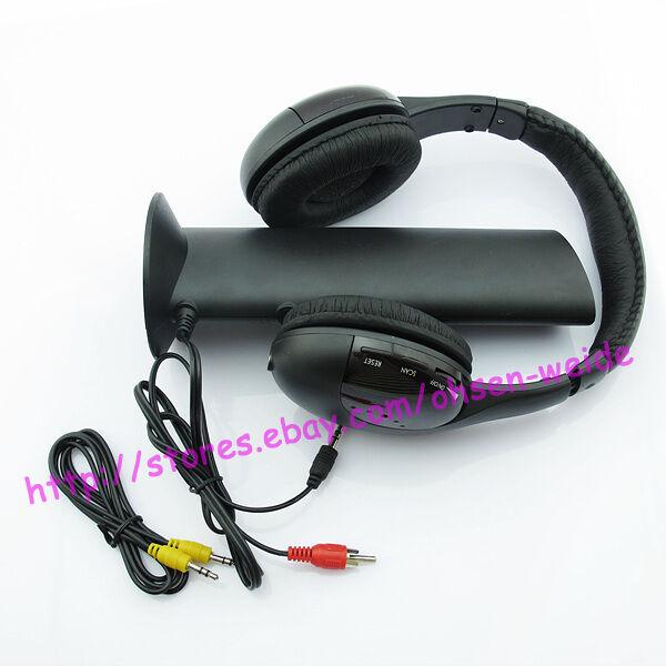 Wireless Headphone Earphone Black for  MP4 PC TV CD FM Radio